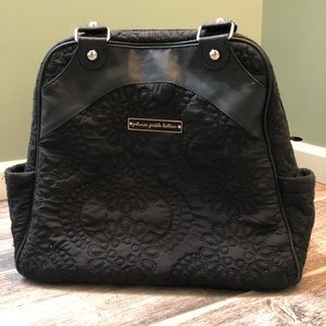 Petunia Pickle Bottom black quilted diaper bag